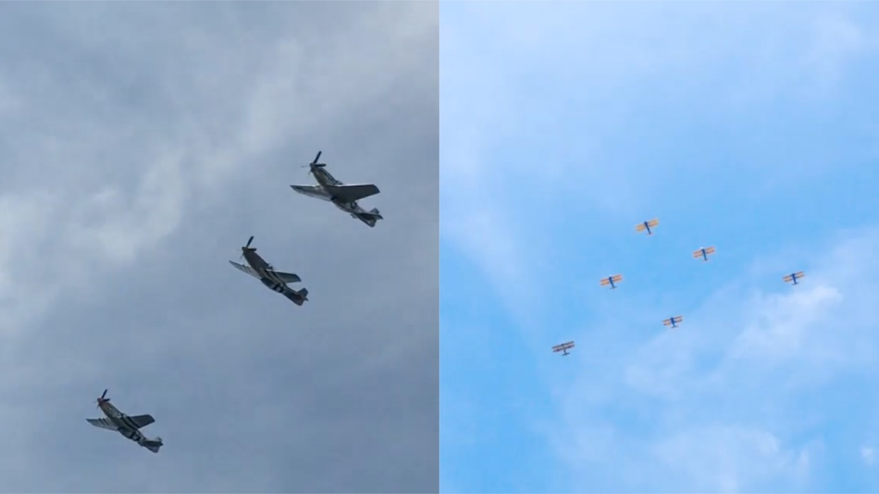Social Video Captures Vintage Planes Flying Over D.C.