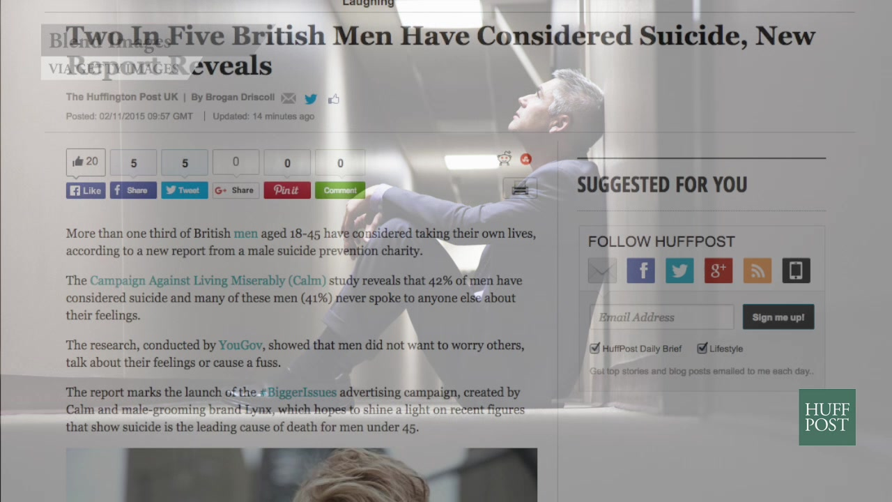Report: 42% of British Men Have Considered Suicide