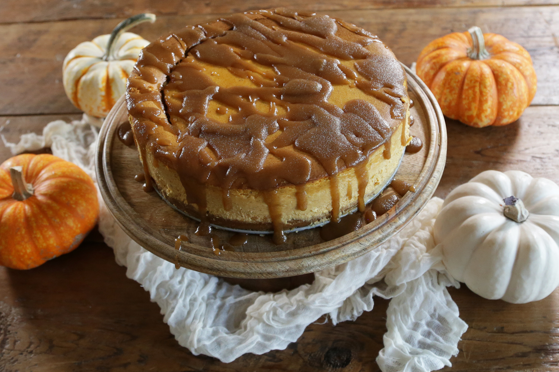 Pumpkin Cheese Cake with Brandy Caramel