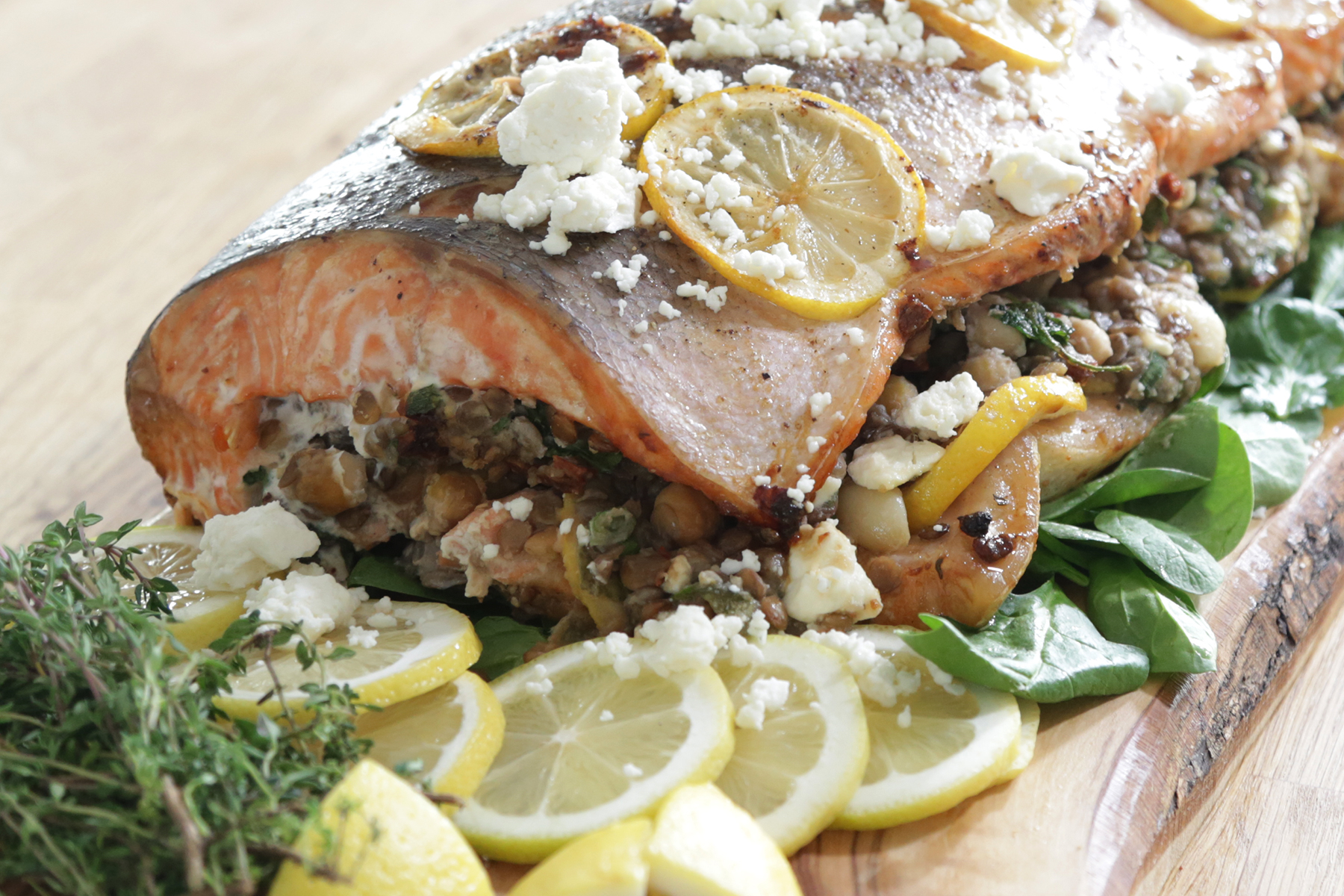 How to Make Lentil and Sun-Dried Tomato Stuffed Salmon