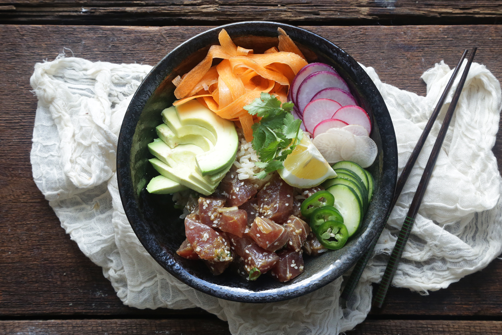 Fresh Ahi Tuna Poke Bowl Recipe