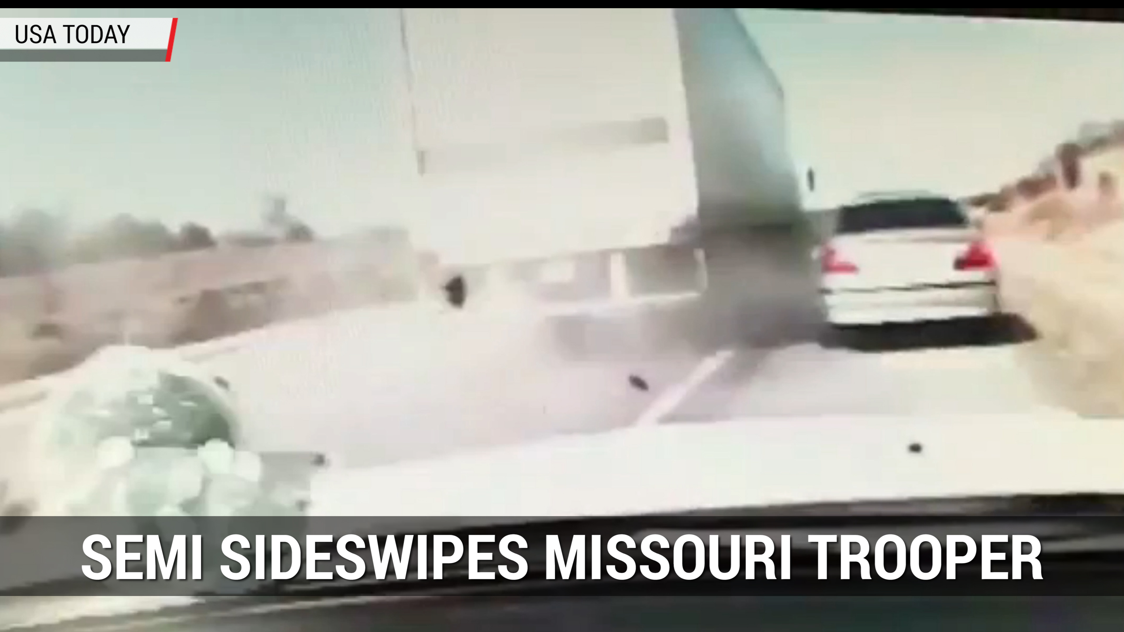 Semi-Truck Sideswipes Missouri Highway Patrol Vehicle | Autoblog Minute