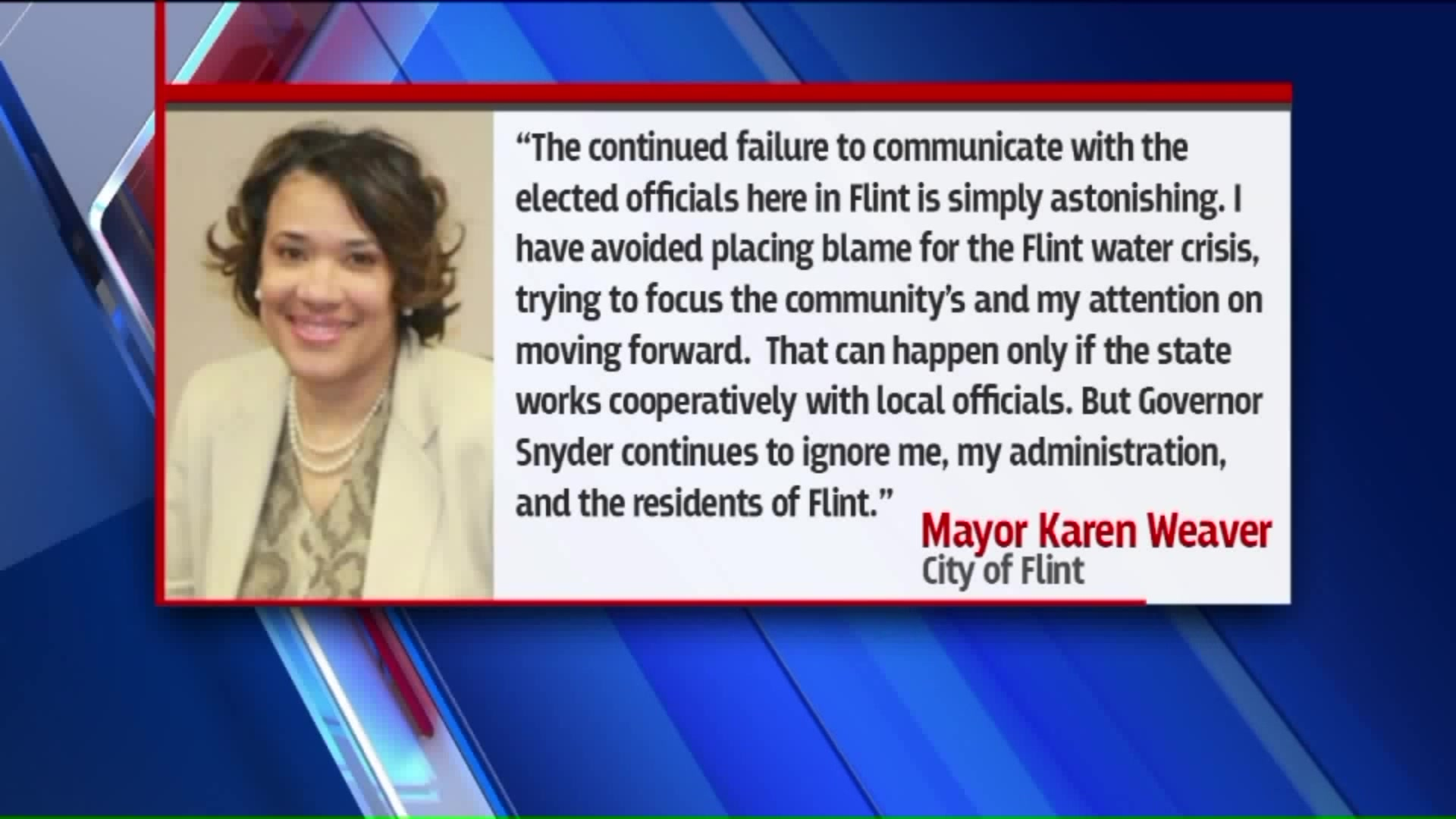 Flint Mayor Takes Aim At Michigan Governor Amid Water Crisis