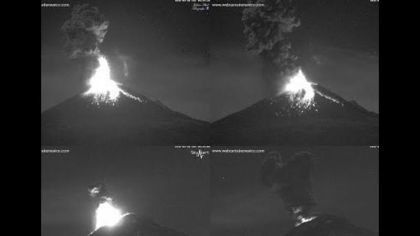 Mexico's El Popo Volcano Explodes in Darkness