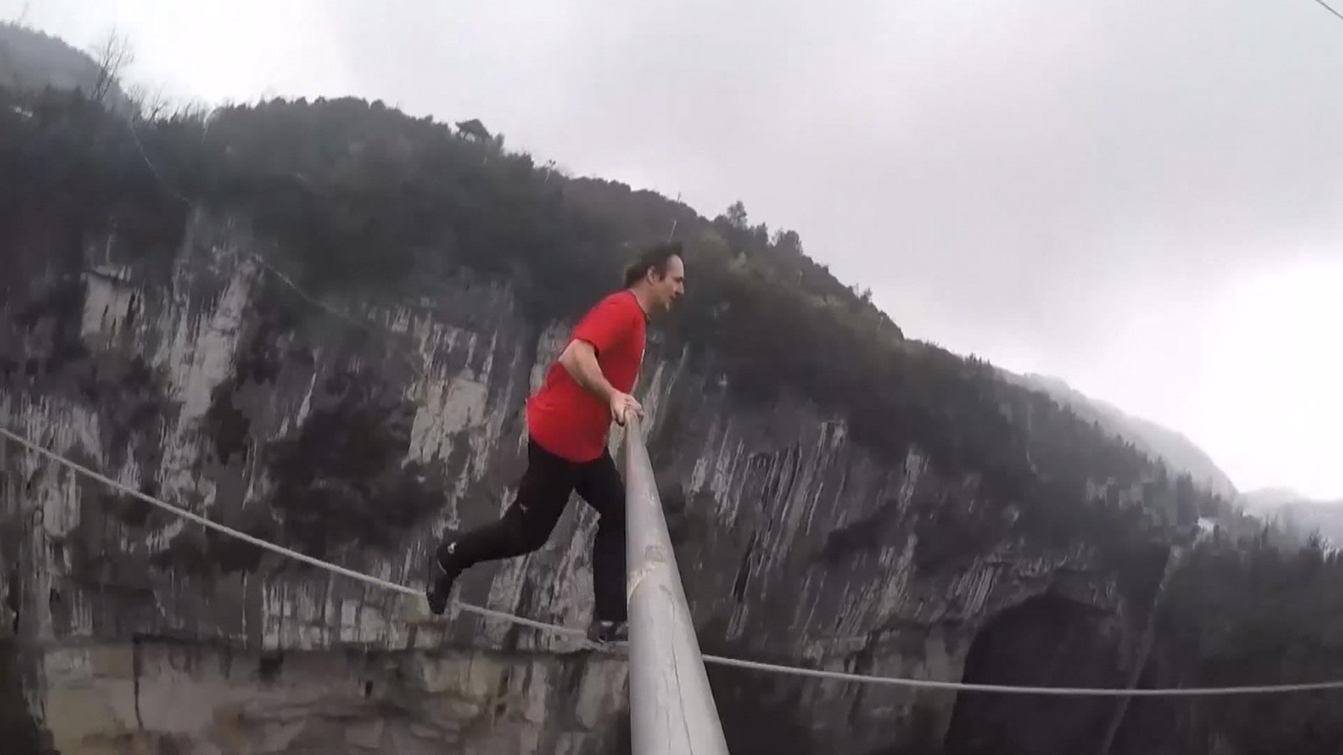 Watch Contestants Brave Heights in Tightrope Contest