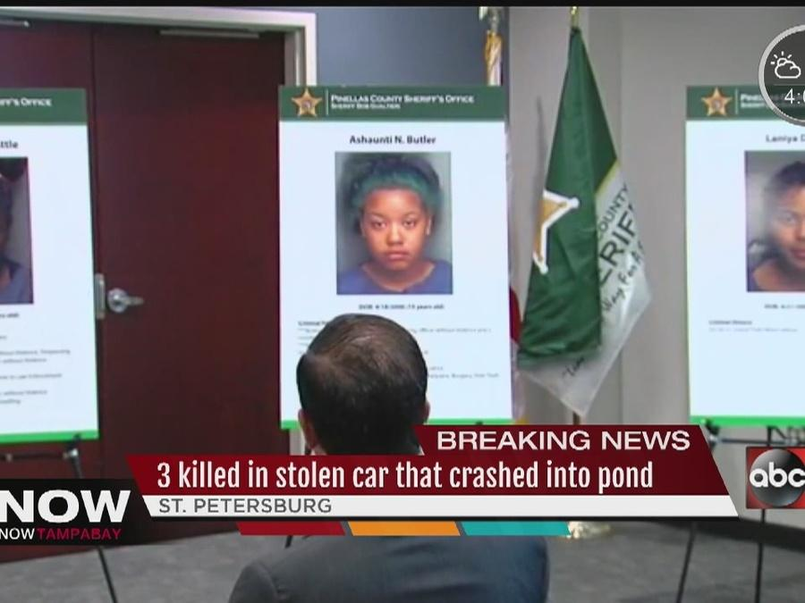 Three dead found as submerged stolen car pulled from St. Pete pond