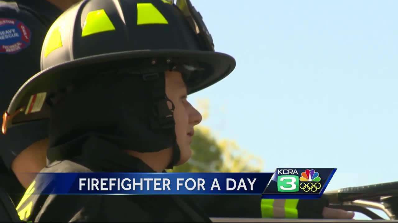 California boy lives dream as firefighter for a day