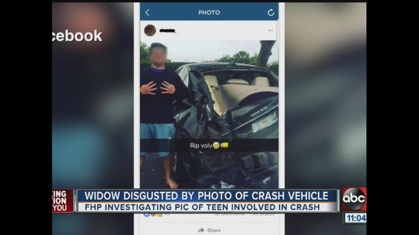FHP investigate photo of teen smiling in front of damaged car involved in fatal crash