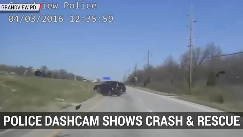 Police Dashcam Shows Dramatic Crash and Rescue | Autoblog Minute