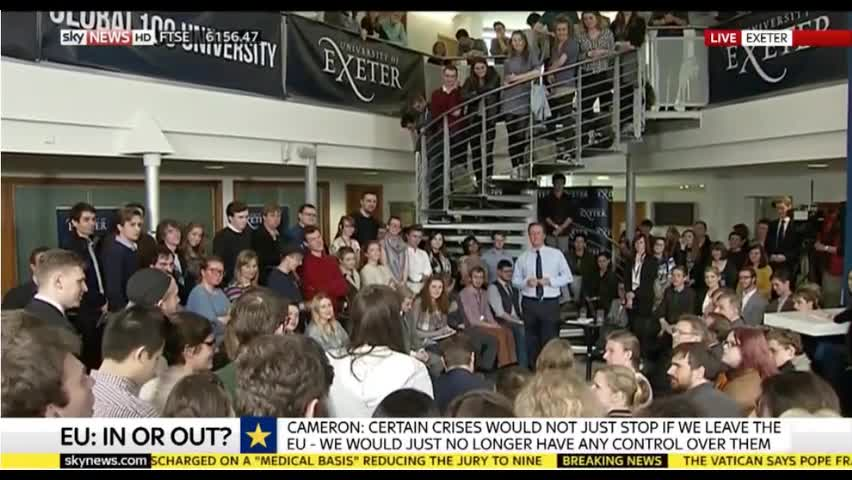 Student tackles Cameron over Glastonbury