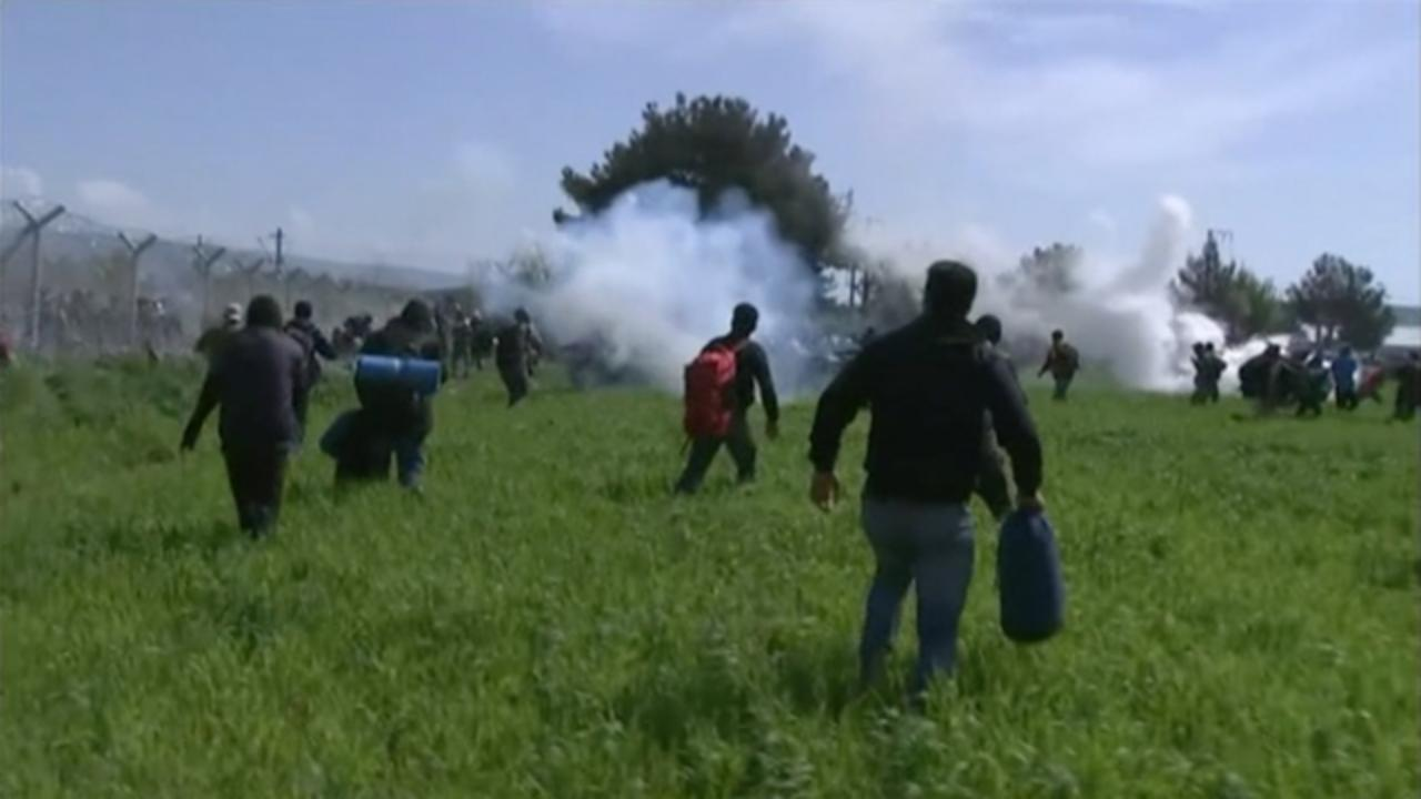 Macedonian Police Fire Tear Gas at Migrants at Greek Border