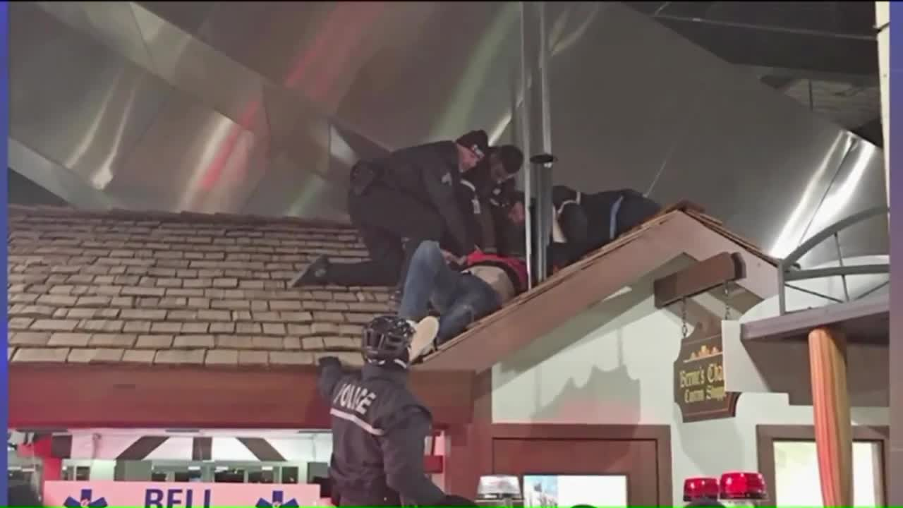 Man Falls from Escalator at Ball Park, Lands on Roof