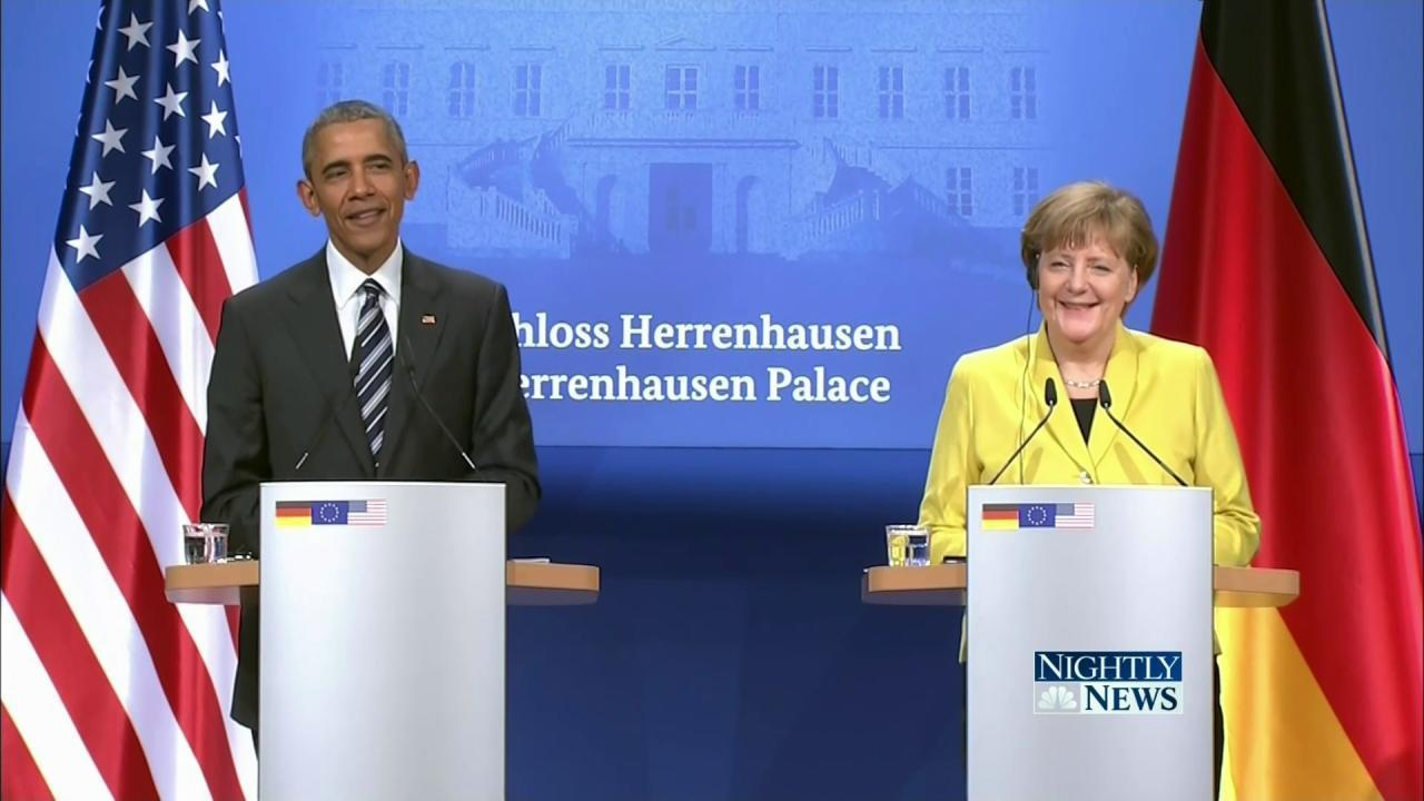 Obama in Germany: Merkel 'Is on the Right Side of History'
