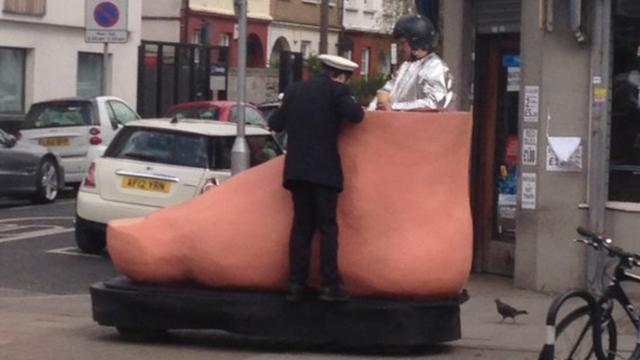 Man Seen Riding Around London In Giant Motorized Foot