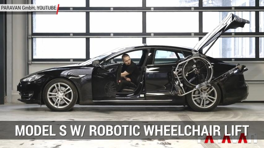 Telsa Model S With Robotic Arm Lifts Wheelchair | Autoblog Minute