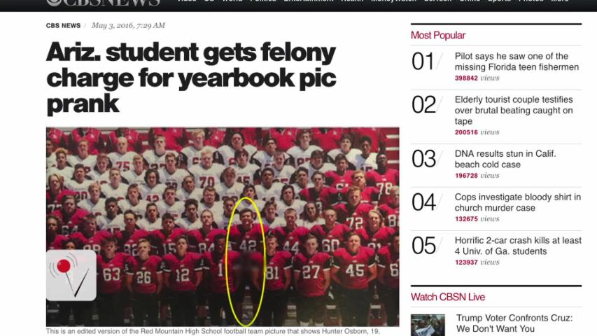 Felony Charges Dropped For Yearbook Prankster