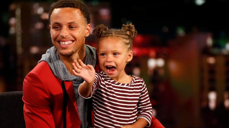 Riley Curry mean mugs press during father's MVP speech