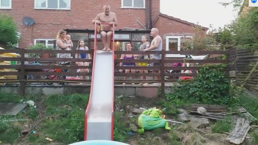 Dad's Pool Slide Goes Wrong