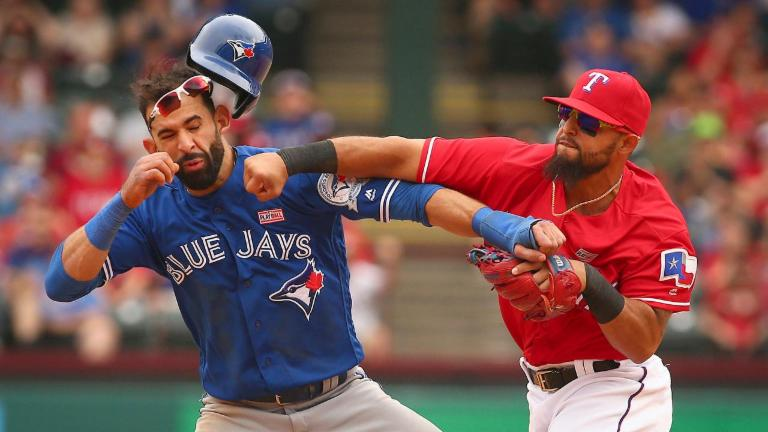 Blue Jays, Rangers brawl after Jose Bautista takeout slide