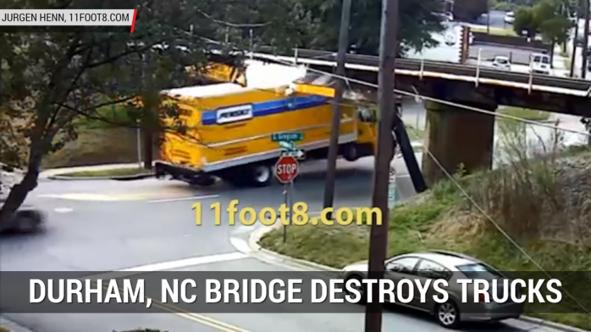 """Can Opener"" Bridge Routinely Destroys Trucks In Durham, NC 