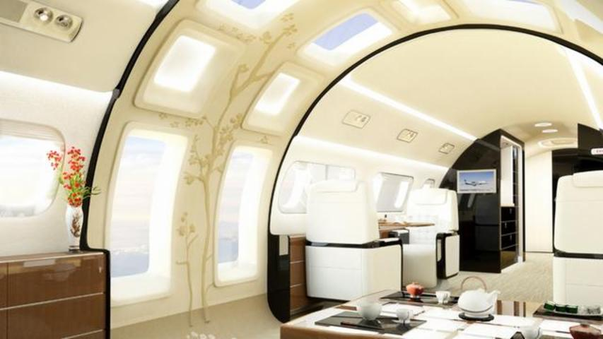 New Private Jet Outfitted With Gigantic Windows And Skylights