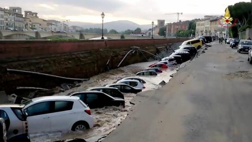 20 Cars Left In A Ditch After Sinkhole Opens Near Popular Bridge In Italy