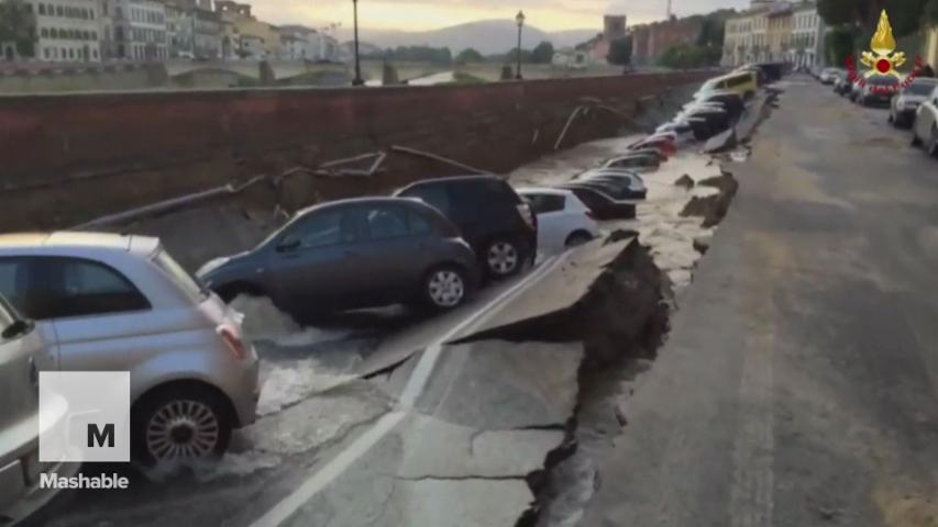 200-Meter Sinkhole Swallows Dozens of Cars Along Riverbank in Italy