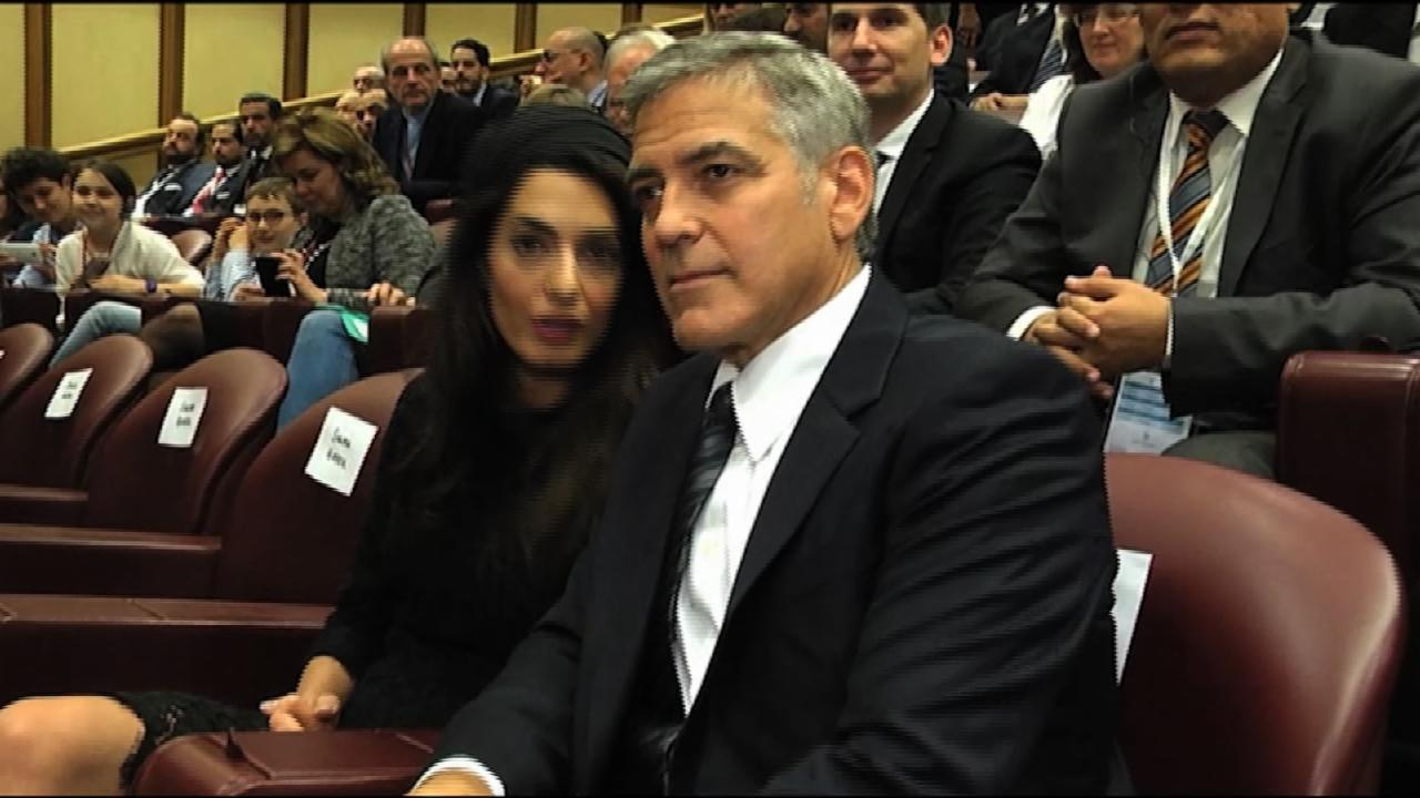 Raw: Pope Thanks Clooney, Gere and Hayek