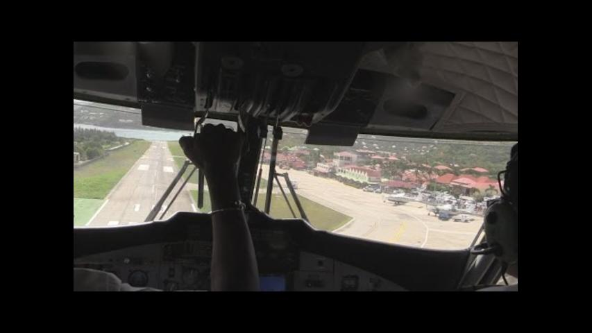 Cockpit Footage of Turbulent Landing at St. Barts
