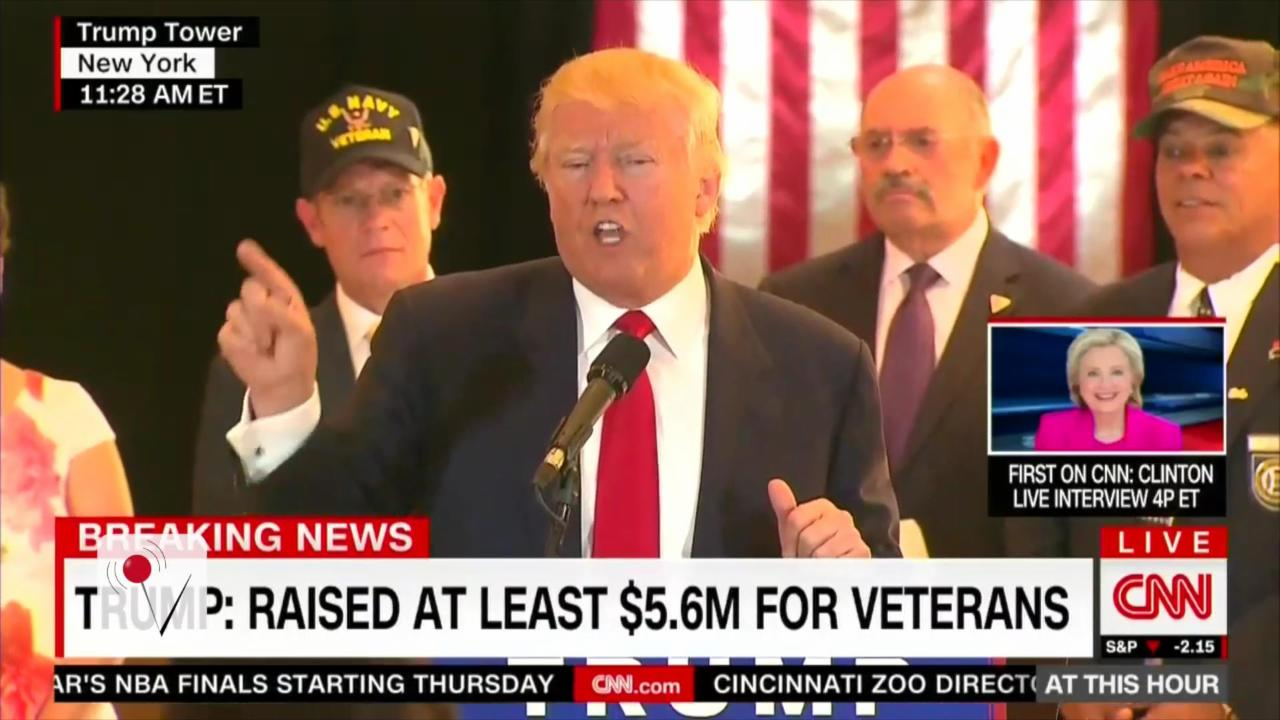 Trump Calls Reporter 'Sleaze' as He Details Veterans Donations