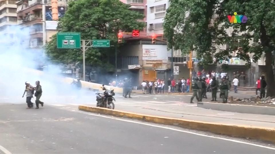 Venezuelan police fire tear gas at food shortage protests