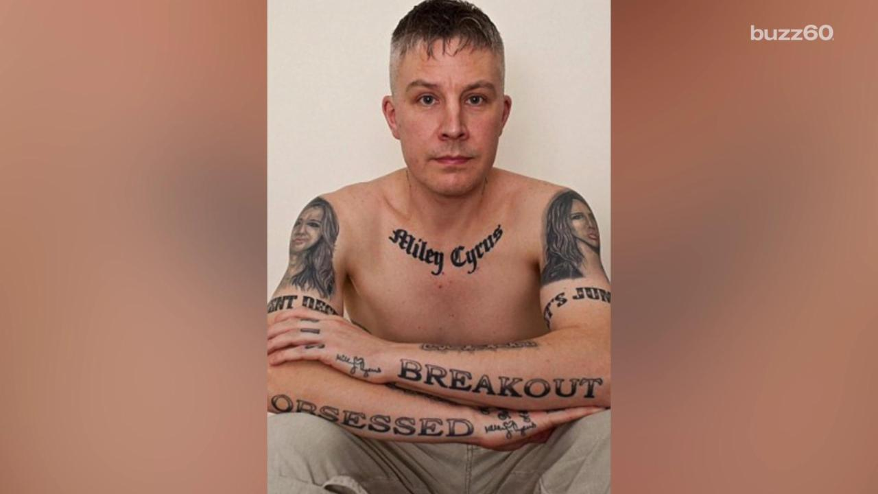 Man with 29 Miley Cyrus Tattoos Says They're Ruining His Love Life