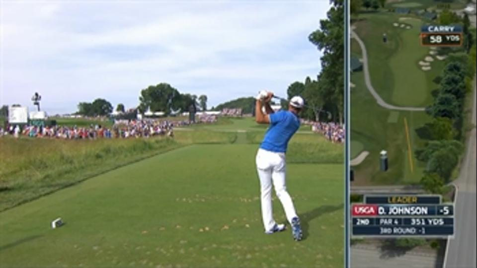 Ouch! Dustin Johnson's hits a fan in the head with ball