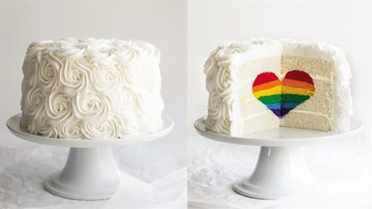 How to Make a Rainbow Heart Cake