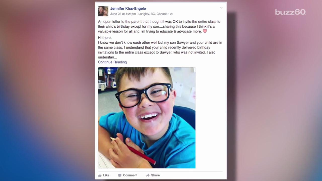 Mom Pens Open Letter After down Syndrome Son Excluded from Birthday Party