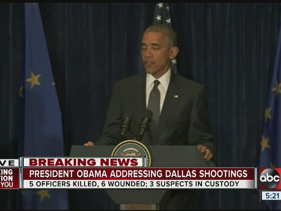 President Obama speaks about Dallas shootings