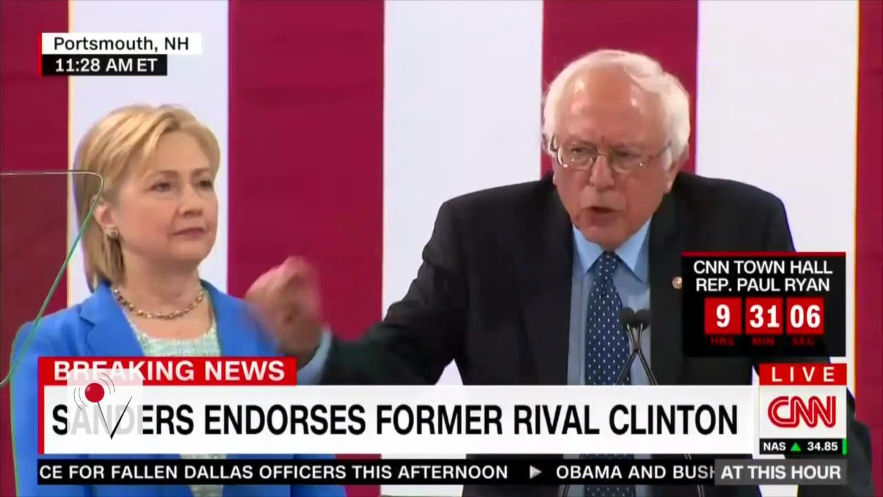 Sanders Endorses Hillary Clinton for President, Trump Responds