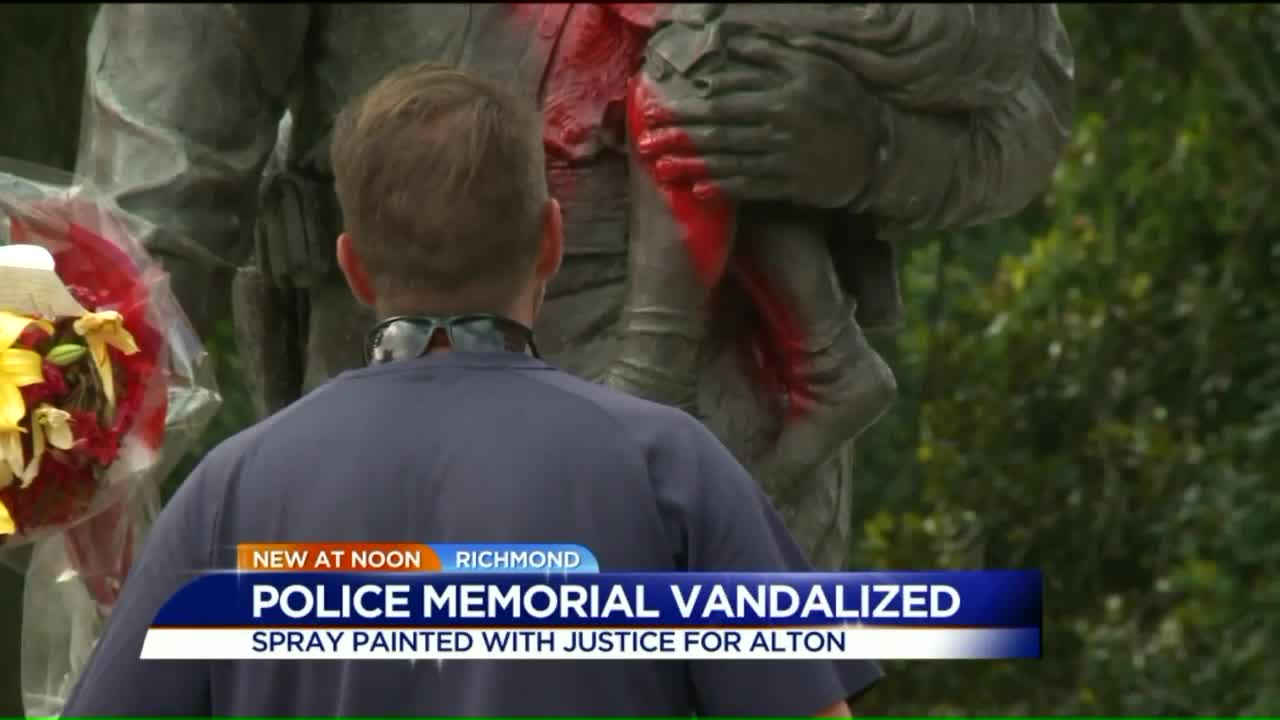 Vandals Deface Police Memorial With Paint, 'Justice for Alton' Message