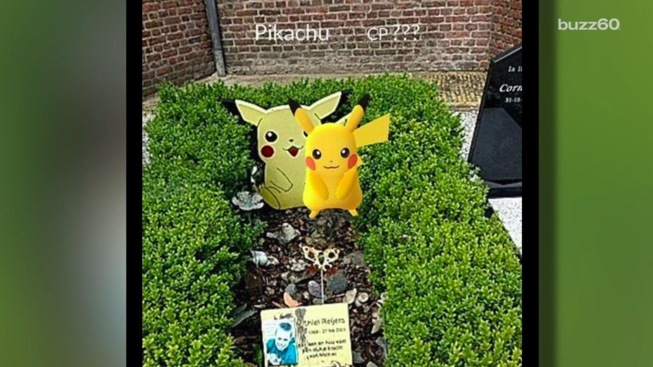 Virtual Pikachu Allegedly Appears Near Pokemon-Themed Grave