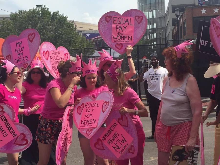 CODE PINK protest misogynistic language used during RNC