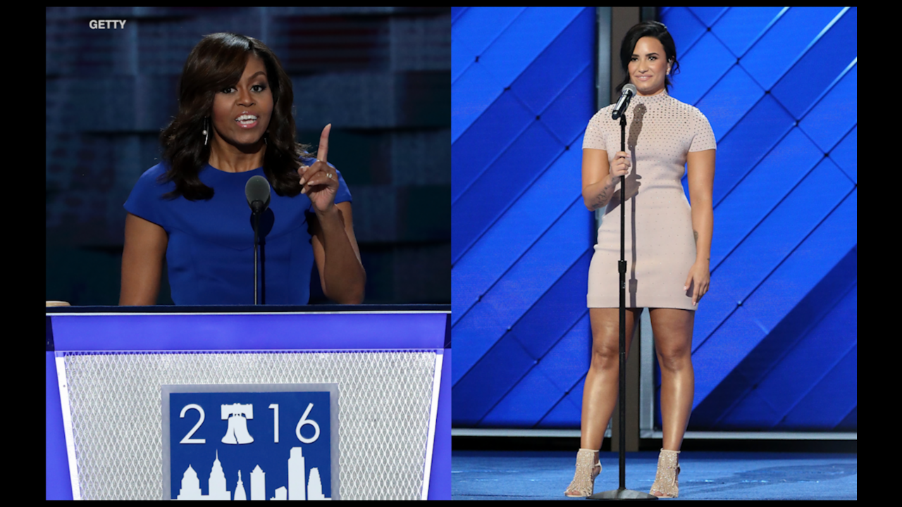Michelle Obama and Demi Lovato rally for Hillary Clinton at DNC
