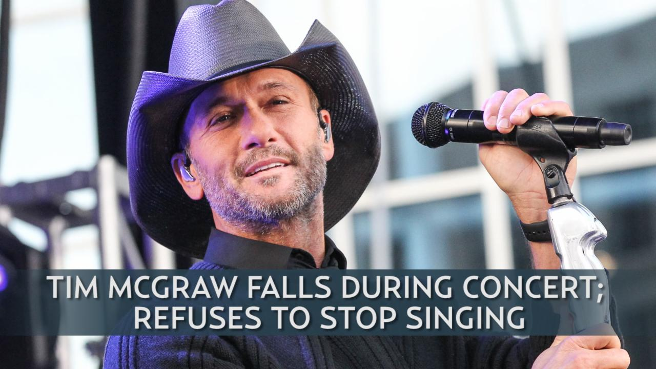 Tim McGraw Falls During Concert; Refuses to Stop Singing