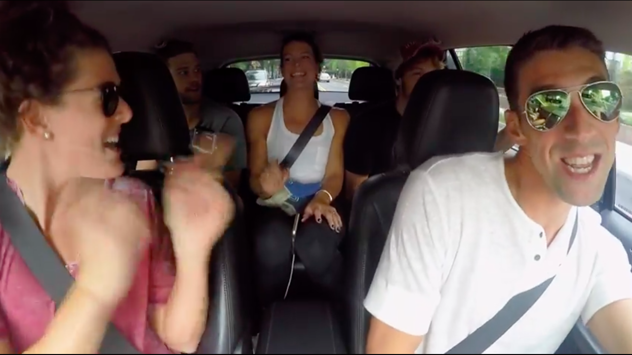 WATCH: Michael Phelps and U.S. swim team film their own carpool karaoke medley