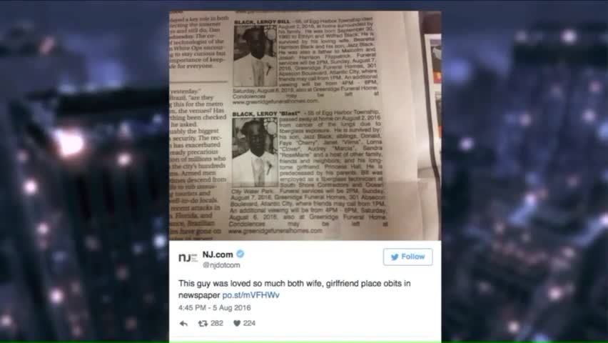 Man's Wife, Girlfriend Place Dueling Obituaries in Same Newspaper