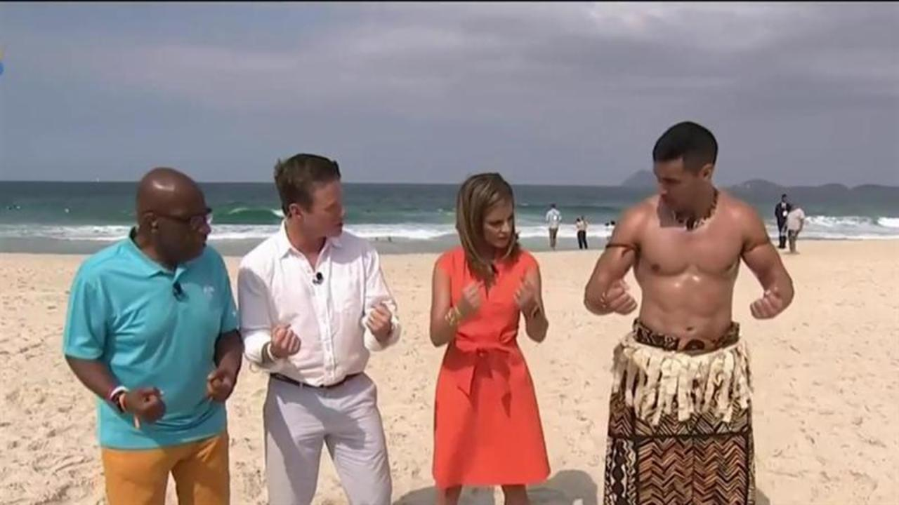 Tonga flag bearer Pita Taufatofua teaches TODAY anchors taekwondo