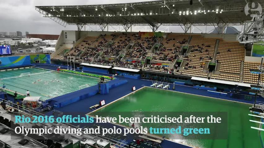 Why have the Rio Olympic pools turned green? - video