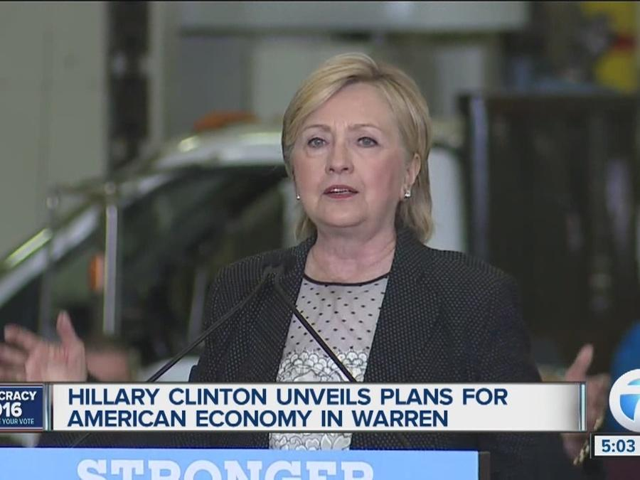 Hillary Clinton delivers speech at manufacturing facility in Warren