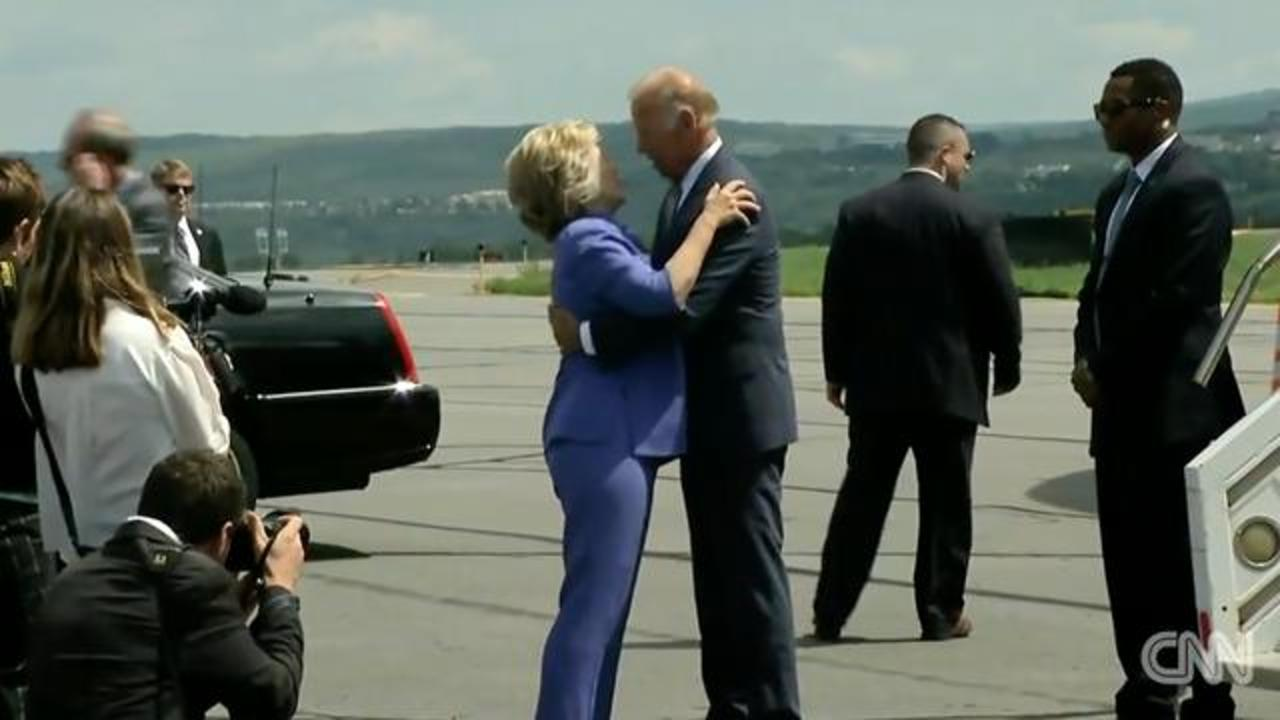 People Can't Stop Talking About 'Endless Hug' Joe Biden Gave To Clinton