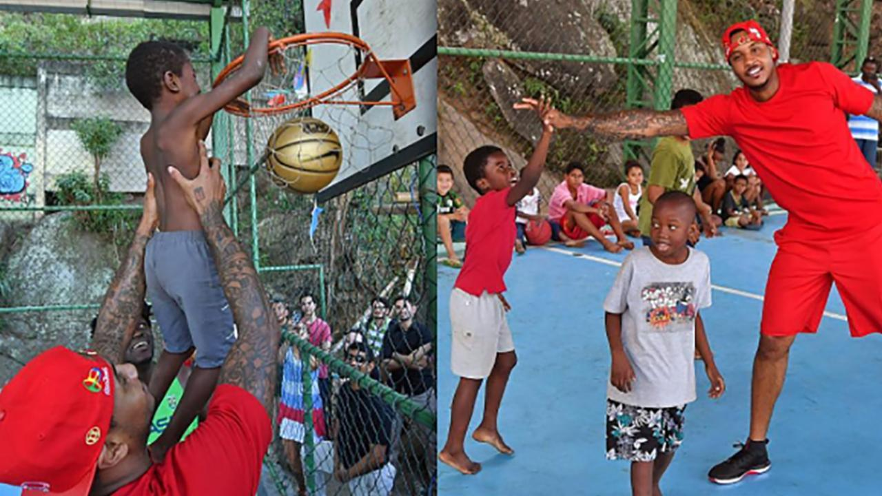 Watch Carmelo Anthony Play Basketball with Kids in Rio Favela