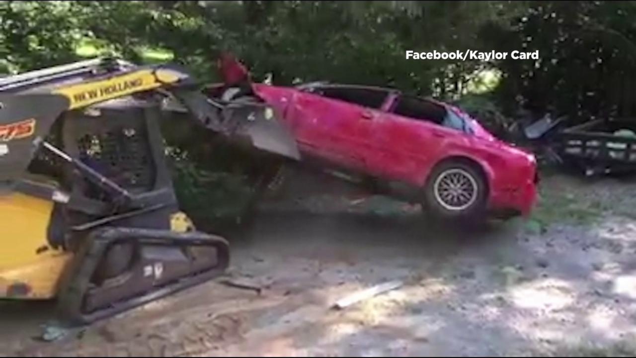 Dad Bulldozes Daughter's Car After Catching Her 'Getting It On' Inside